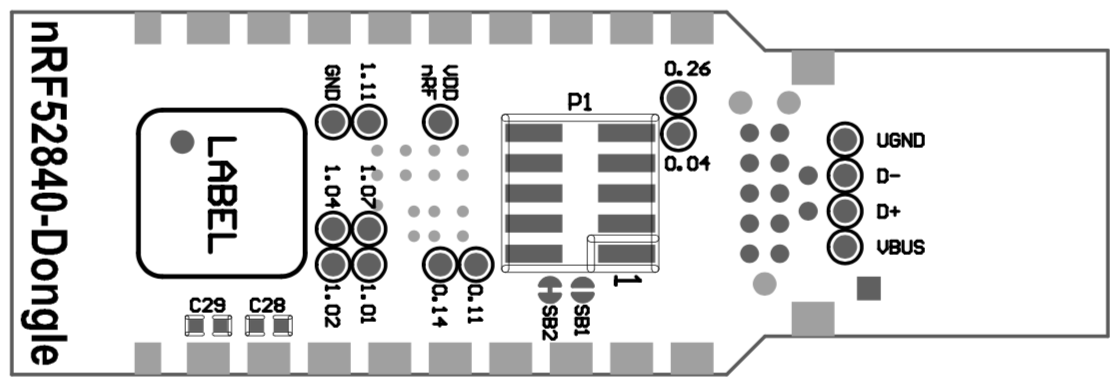 nrf52840 dongle assembly drawing